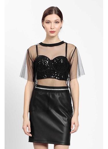 Vitrin Pulpayet Büstiyer  Transparan Tüllü Bluz Siyah